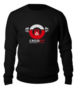 "Свитшот унисекс хлопковый ""#CROSSFIT"" - спорт, фитнес, crossfit, кросфит"