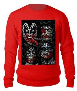 "Свитшот унисекс хлопковый ""KISS Zombies"" - музыка, хэллоуин, зомби, рок-группа, кисс"