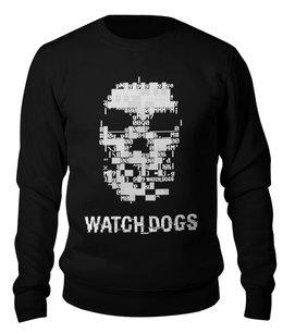 """Свитшот унисекс хлопковый """"Watch Dogs 2"""" - череп, компьютерные игры, цифровой, взлом, хакеры"""