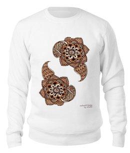 """Свитшот унисекс хлопковый """"Узоры мехенди"""" - цветы, листья, орнамент, этнический, мехенди"""