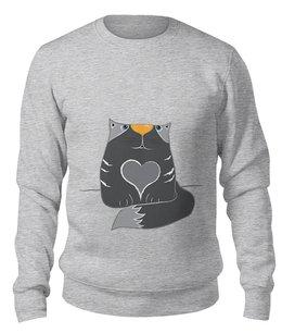 """Свитшот унисекс хлопковый """"Влюблённый котик с сердцем"""" - сердце, кот, детский, мультяшный"""