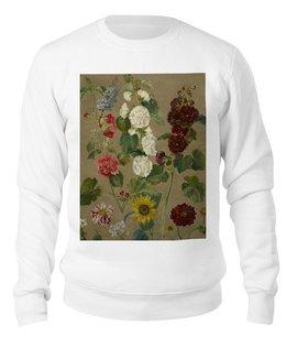 """Свитшот унисекс хлопковый """"Цветы (картина Эжена Делакруа)"""" - цветы, картина, живопись, делакруа, романтизм"""