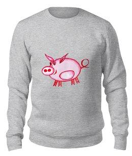 """Свитшот унисекс хлопковый """"Розовый поросенок"""" - арт, счастье, малыш, свин, розовый поросенок"""