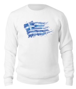 "Свитшот унисекс хлопковый ""Свитшот унисекс ""Греческий флаг (слэш)"""" - флаг, символика, греческий, греция, greek"