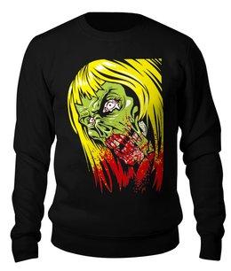 """Свитшот унисекс хлопковый """"Девушка зомби"""" - череп, девушка, кровь, зомби, zombie"""