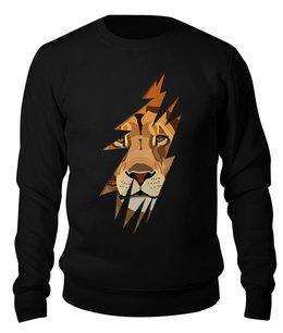 """Свитшот унисекс хлопковый """"Лев ( Lion)"""" - животное, хищник, царь зверей, лев, lion"""