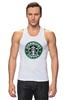 "Майка (Мужская) ""starbucks coffee"" - зеленый, кофе, coffee, русалка, starbucks, старбакс"