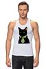 """Майка классическая """"Деловой кот"""" - кот, мем, cat, mem, black cat, деловой кот, business cat, suit n tie"""