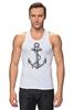 """Майка (Мужская) """"Держись сильнее за якорь"""" - якорь, anchor, sailor, флот, гребенщиков, бг, держись сильнее за якорь"""