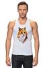"""Майка (Мужская) """"Poly Fox"""" - fox, лиса, лисица, полигоны"""