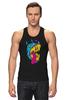 """Майка (Мужская) """"Радиоактивный пес"""" - футболки с собаками, креативные футболки с собакой купить, разноцветные собаки"""
