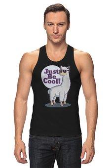 "Майка классическая ""Just Be Cool!"" - животные, лама"