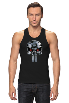 "Майка классическая ""Punisher Of The Future"" - череп, пародия, фантастика, терминатор, каратель"
