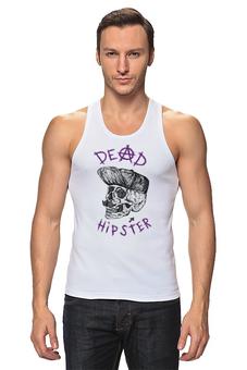 """Майка (Мужская) """"DEAD HIPSTER"""" - череп, надпись, крест, face, dead"""