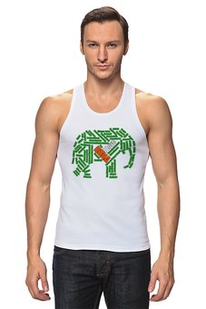 """Майка классическая """"Я люблю Индию (бело-зелено-оранжевый слон)"""" - подарок, слова, символ, путешествия, индия"""