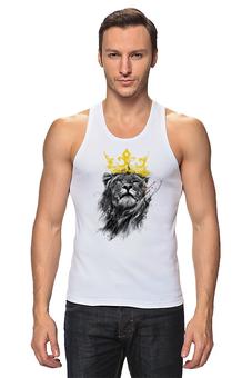 """Майка классическая """"Король Лев"""" - животные, лев, царь зверей, корона"""