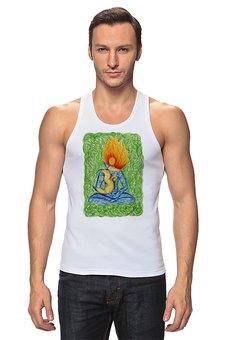 """Майка классическая """"Огненный Ом """" - йога, ом, медитация, индийский, мехенди"""
