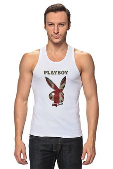 """Майка классическая """"Playboy Британский флаг"""" - великобритания, playboy, плейбой, плэйбой, зайчик"""