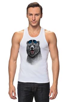 """Майка классическая """"Позитивный медведь"""" - bear, медведь, animal, солнечные очки, арт дизайн"""