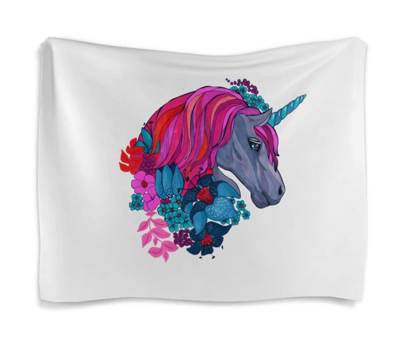 Гобелен 180х145 Printio Единорог с розовыми волосами в цветах детская футболка классическая унисекс printio единорог с розовыми волосами в цветах