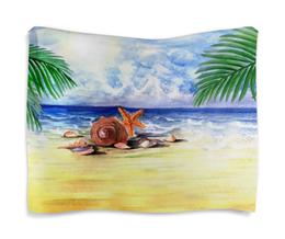 """Гобелен 180х145 """"Пляжный"""" - море, пляж, пальма, ракушка, морская звезда"""