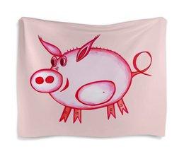 """Гобелен 180х145 """"Розовый поросенок"""" - арт, счастье, малыш, свин, розовый поросенок"""