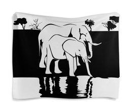 """Гобелен 180х145 """"Слоны на водопое"""" - слон"""