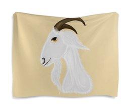 """Гобелен 180х145 """"Без названияГолова белого козла"""" - голова, злость, изумление, белый козел, удивленный козел"""
