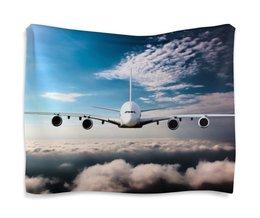 """Гобелен 180х145 """"Самолет"""" - полет, небо, боинг, облока"""