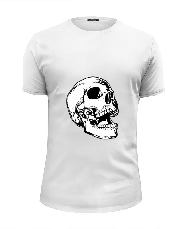 Футболка Wearcraft Premium Slim Fit Printio Белая толстовка с черепом. цена