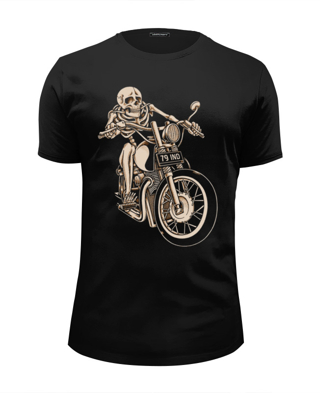 Футболка Wearcraft Premium Slim Fit Printio Skeleton biker destroyed slim fit biker jeans