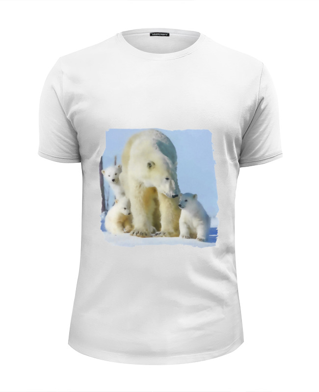 Футболка Wearcraft Premium Slim Fit Printio Белая медведица с медвежатами цена