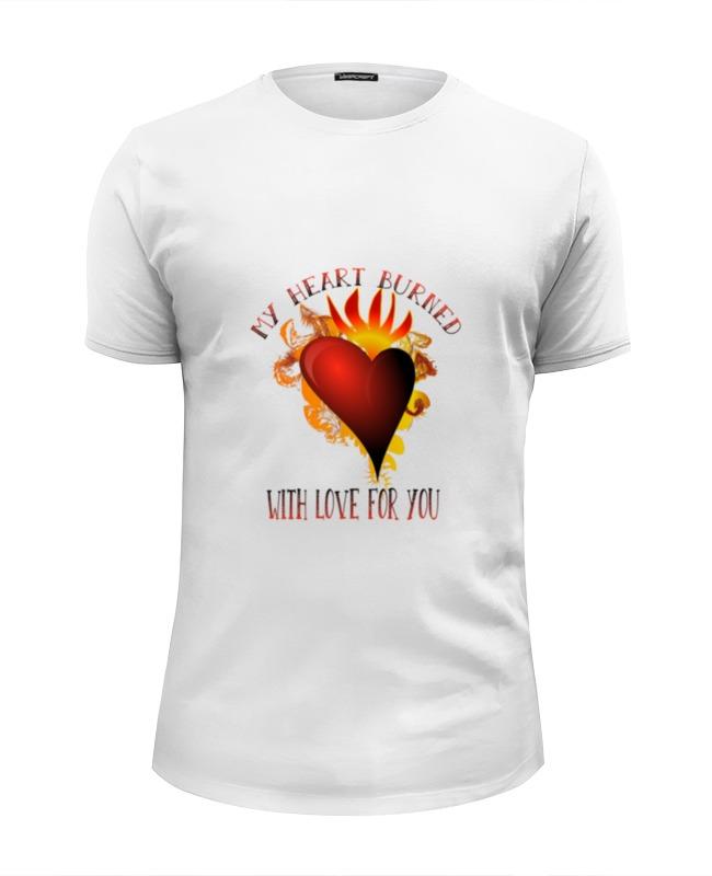 Футболка Wearcraft Premium Slim Fit Printio Мое сердце возгорелось любовью к тебе футболка wearcraft premium slim fit printio моя любовь к тебе безгранична