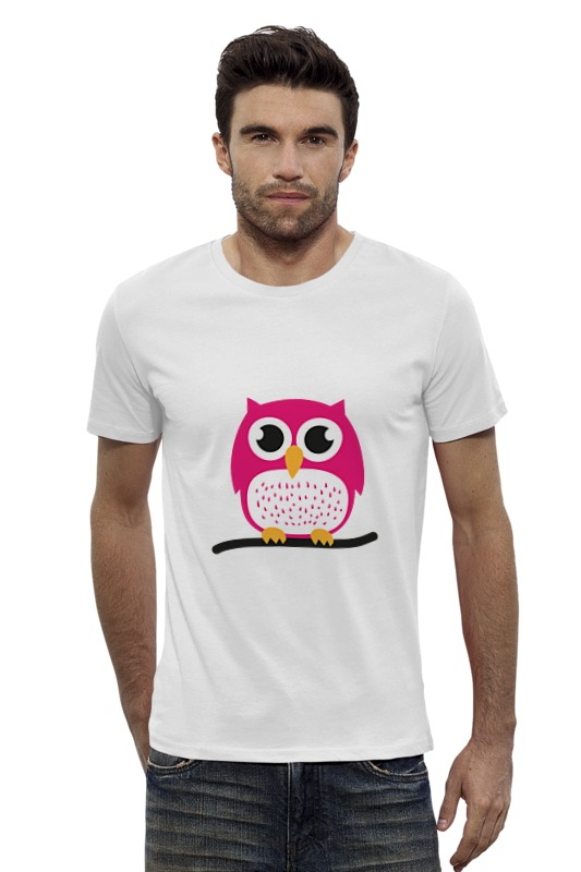 Футболка Wearcraft Premium Slim Fit Printio Розовая сова футболка wearcraft premium slim fit printio ночная сова