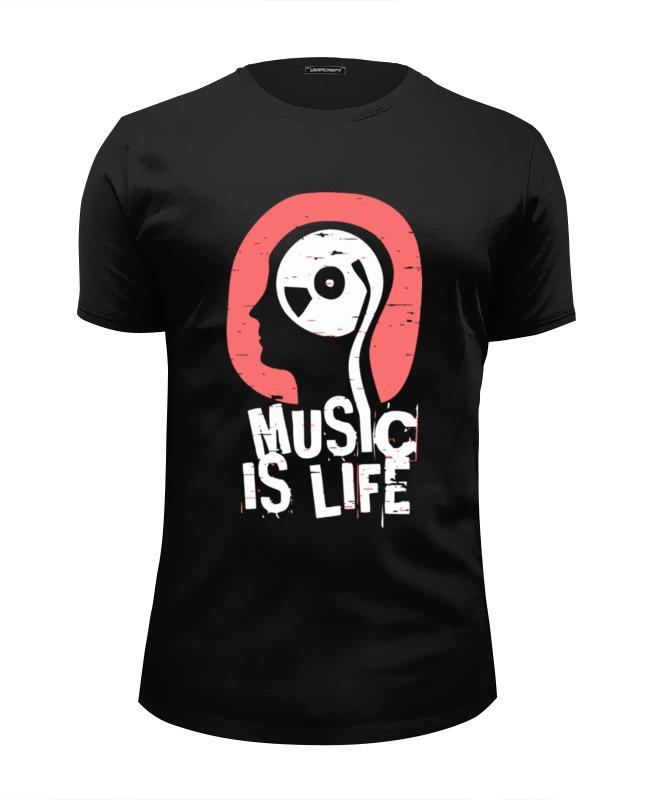 Футболка Wearcraft Premium Slim Fit Printio Музыка это жизнь футболка wearcraft premium printio жизнь удалась