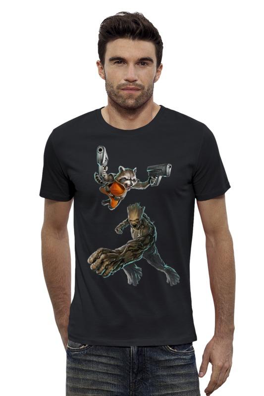 Футболка Wearcraft Premium Slim Fit Printio Rocket raccoon and groot/енот ракета и грут