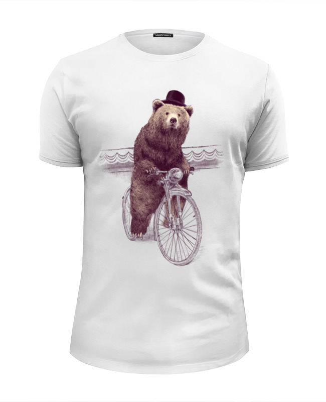 Футболка Wearcraft Premium Slim Fit Printio Медведь на велосипеде футболка wearcraft premium slim fit printio медведь с магнитофоном