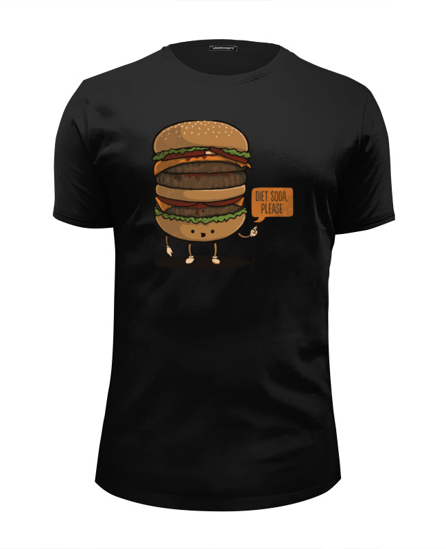 Футболка Wearcraft Premium Slim Fit Printio Diet burger / бургер лонгслив printio diet burger бургер