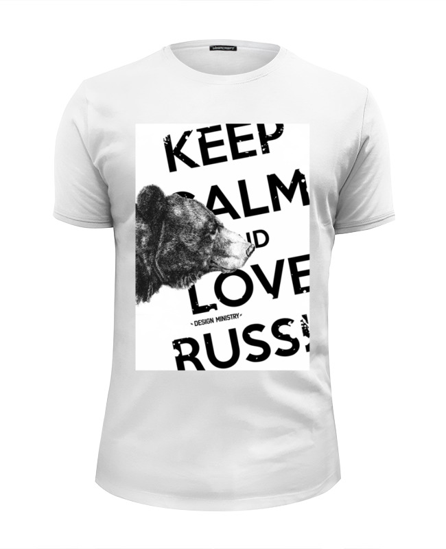 Футболка Wearcraft Premium Slim Fit Printio Keep calm and love russia 2 by design ministry