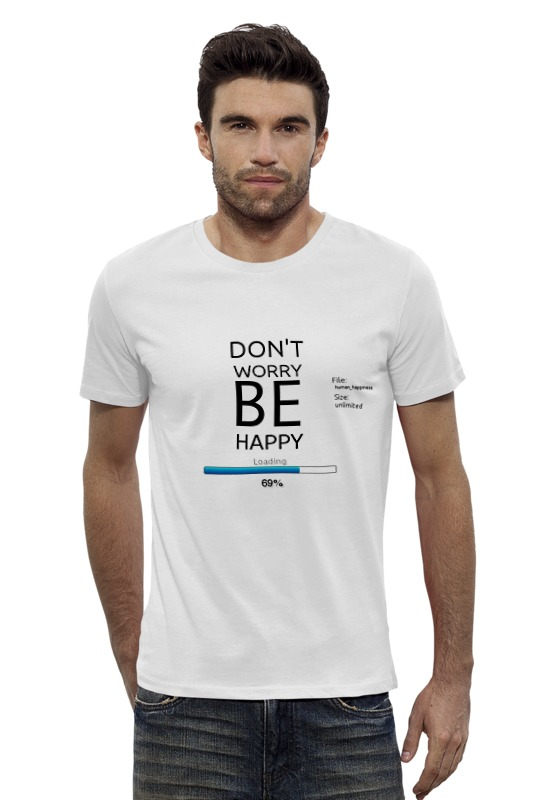 Футболка Wearcraft Premium Slim Fit Printio счастье загружается... счастье летать ёжедневник
