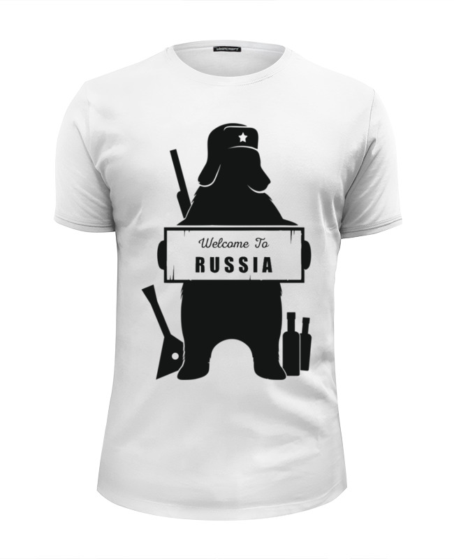 Футболка Wearcraft Premium Slim Fit Printio Welcome to russia лонгслив printio welcome to russia