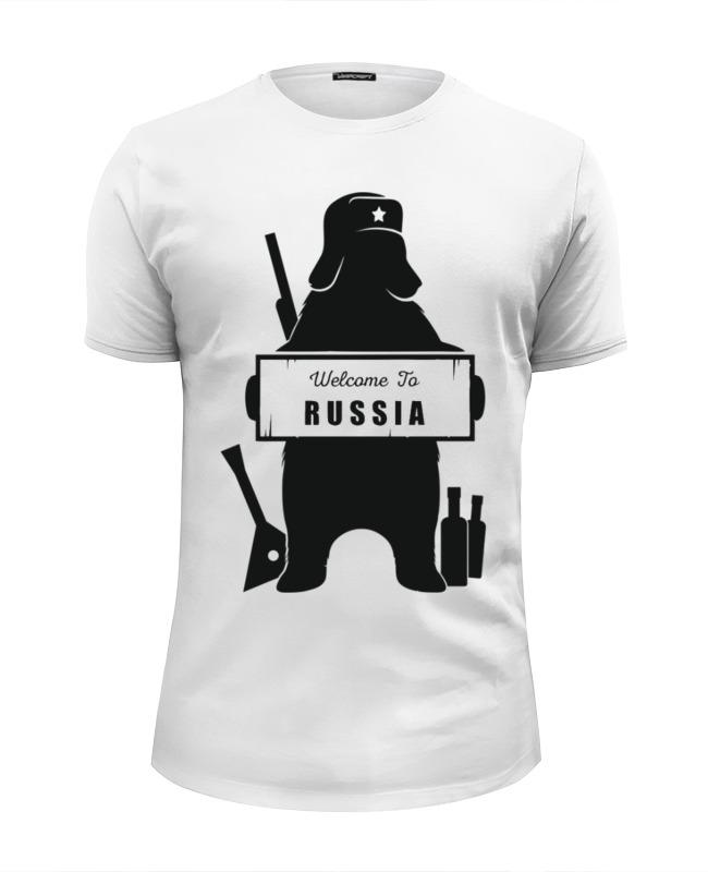 Футболка Wearcraft Premium Slim Fit Printio Welcome to russia free ship to russia