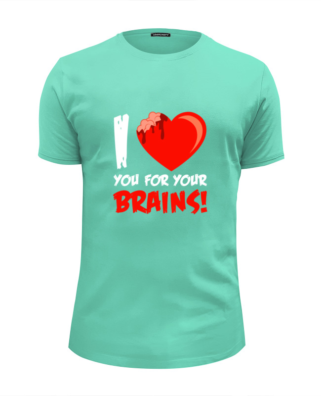 Футболка Wearcraft Premium Slim Fit Printio I love brains (zombie) футболка wearcraft premium slim fit printio i love science я люблю науку