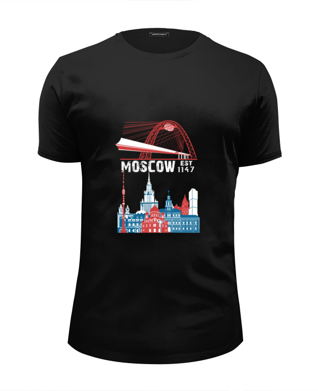 Футболка Wearcraft Premium Slim Fit Printio Москва. moscow. establshed in 1147 (1) dog shaped retro digital flip page gear clock 1 x d battery