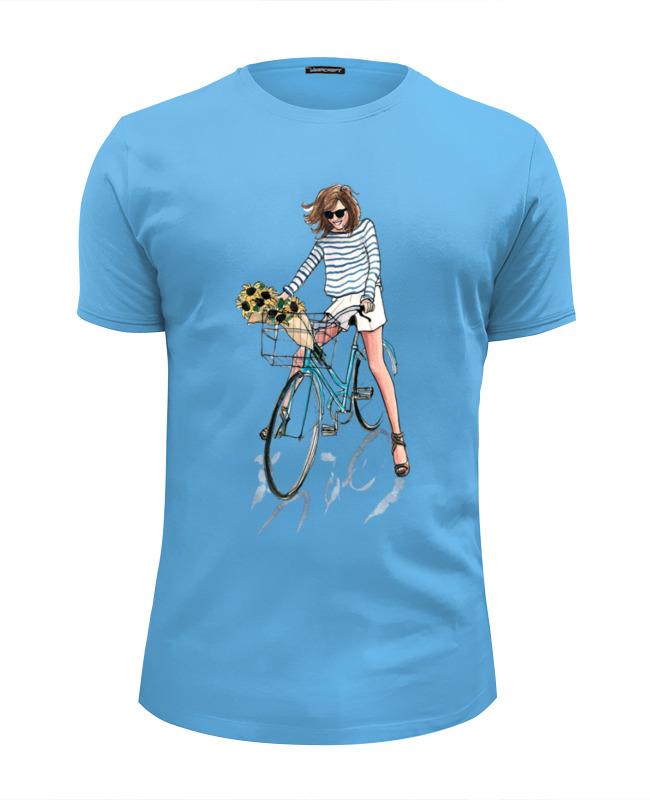 цена на Футболка Wearcraft Premium Slim Fit Printio Девушка на велосипеде