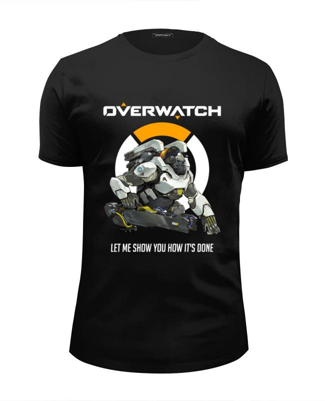 Футболка Wearcraft Premium Slim Fit Printio Overwatch. уинстон футболка классическая printio overwatch уинстон