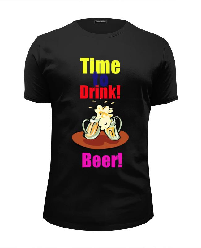 Футболка Wearcraft Premium Slim Fit Printio Time to drink beer! creative lazy drink beer drinking beverage helmet