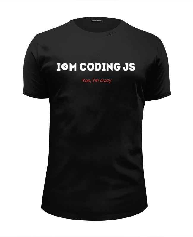 цена Футболка Wearcraft Premium Slim Fit Printio I'm coding js