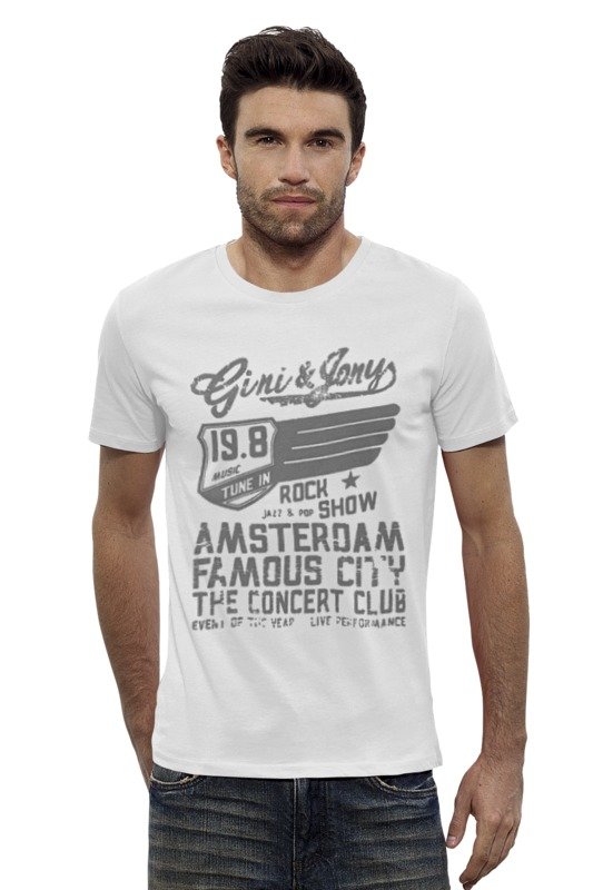 Футболка Wearcraft Premium Slim Fit Printio Gini & jony boy amsterdam rock show