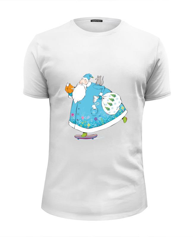 Футболка Wearcraft Premium Slim Fit Printio Дед мороз на скейте ostin футболка с новогодним принтом